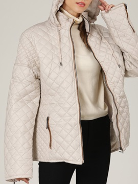 Patchwork Zipper Straight Standard Women's Cotton Padded Jacket