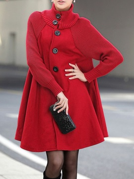 A Line Button Single-Breasted Mid-Length Turtleneck Women's Overcoat
