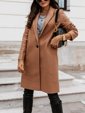 Button Slim Single-Breasted Notched Lapel Fall Women's Overcoat