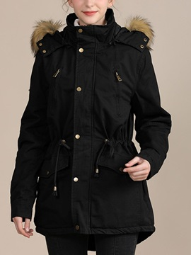 Slim Zipper Patchwork Mid-Length Women's Cotton Padded Jacket