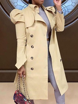 Long Button Lapel Puff Sleeve Long Sleeve Women's Trench Coat