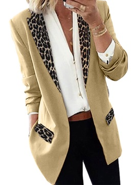 Leopard Long Sleeve Wrapped Mid-Length Fall Women's Casual Blazer