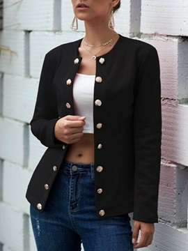 Long Sleeve Double-Breasted Round Neck Regular Standard Women's Casual Blazer