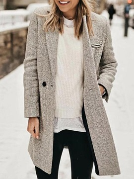 Long Sleeve Notched Lapel Double-Breasted Winter Standard Women's Casual Blazer