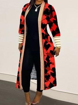 Print Lace-Up Long Long Sleeve Western Women's Trench Coat