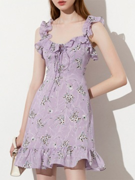 Sleeveless Square Neck Backless A-Line Summer Women's Floral Dress Dress