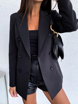 Notched Lapel Long Sleeve Double-Breasted Standard Spring Women's Casual Blazer