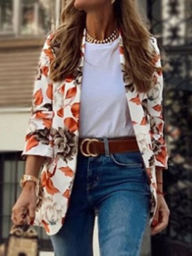 Notched Lapel Wrapped Long Sleeve Fall Mid-Length Women's Casual Blazer