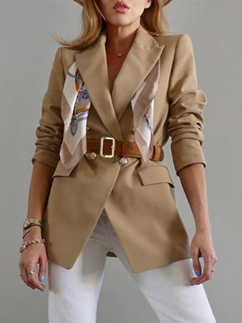 Plain Notched Lapel Double-Breasted Regular Mid-Length Women's Casual Blazer