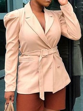 Double-Breasted Slim Long Sleeve Notched Lapel Regular Women's Jacket