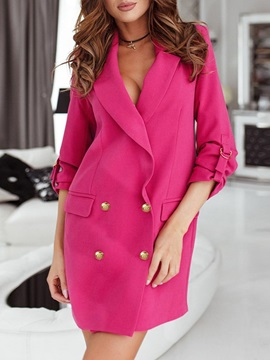 Long Sleeve Double-Breasted Notched Lapel Spring Mid-Length Women's Casual Blazer