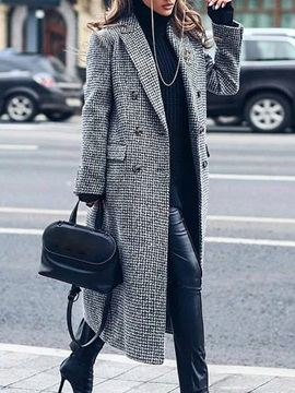 Double-Breasted Straight Print Winter Long Women's Overcoat