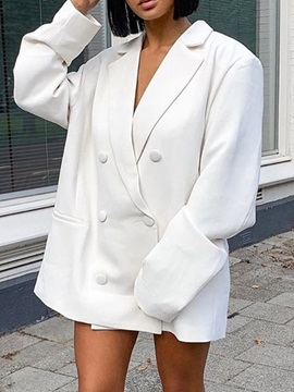 Long Sleeve Double-Breasted Notched Lapel Regular Fall Women's Casual Blazer