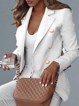 Double-Breasted Long Sleeve Notched Lapel Regular Standard Women's Casual Blazer