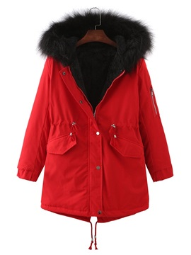 Button Thick Straight Mid-Length Women's Cotton Padded Jacket