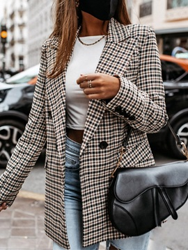 Double-Breasted Notched Lapel Plaid Mid-Length Regular Women's Casual Blazer