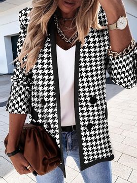 Long Sleeve Double-Breasted Color Block Mid-Length Spring Women's Casual Blazer