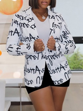 Notched Lapel Long Sleeve Letter Fall Mid-Length Women's Casual Blazer