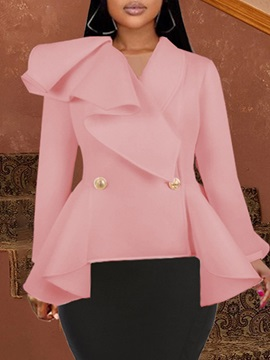 Double-Breasted Plain Long Sleeve Spring Mid-Length Women's Casual Blazer