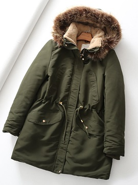 Button Single-Breasted Loose Mid-Length Women's Cotton Padded Jacket