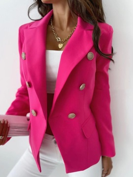 Double-Breasted Notched Lapel Long Sleeve Summer Office Lady Women's Blazer