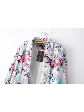 Elegant Slim Flowers Print Long Sleeve Blazer
