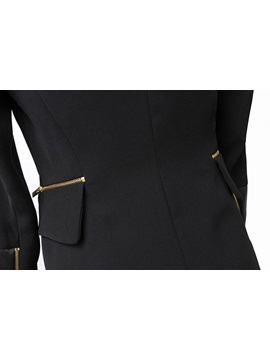 Black Pure Cotton Closed-Fitting Stand-Collar Work Blazer