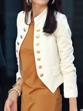 Solid Color Double Breasted Long Sleeve Blazer