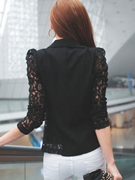 Sexy Lace Sleeves Lapel Short Blazer