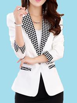 Stylish Plaid Lapel Slim Blazer