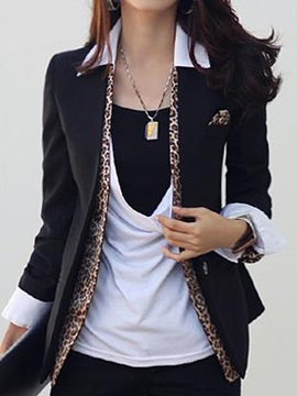 Cotton Blends Stylish Leopard Decoration Slim Blazer