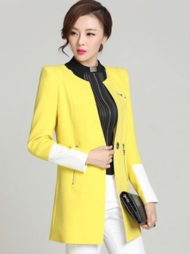 Chic Round Neck and Zippers Work Blazer
