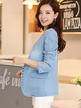 Stylish Rivet Decoration Denim Blazer