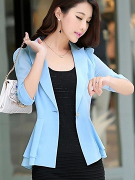 Chic Half Sleeves One Button Work Blazer