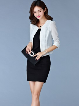 Fashion Stylish Chiffon Back Short Blazer