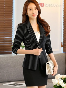 Stylish Three-Quarter Sleeves Stripe Work Blazer