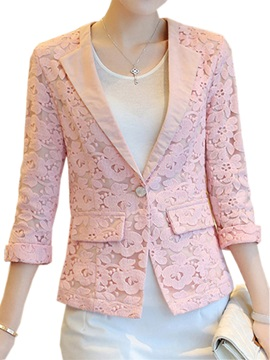 Chic Three-Quarter Sleeves Lace Blazer