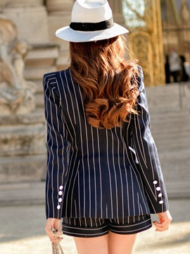 Stylish Button Decoration Cuff Stripe Blazer