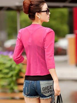 Stylish Color Diamonds Decoration Collar Blazer