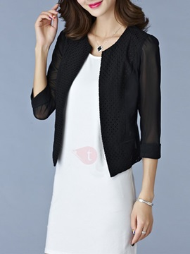 Stylish See Through Three-Quarter Sleeve Blazer