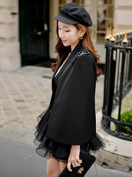 Chic Solid Color Cloak Blazer