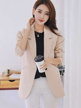 Chic Plain Notched Laple Blazer