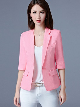 Lapel One Button Plain Blazer