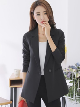 Slim Plain One Button Blazer
