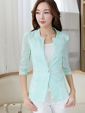 Ladylike Plain Slim Lace Patchwork Blazer