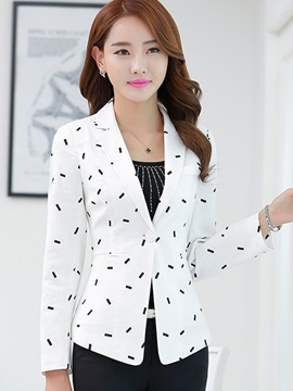 Slim Notched Lapel One Button Print Blazer