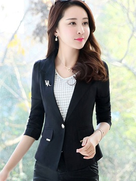 Slim Long Sleeve Notched Lapel Women's Blazer