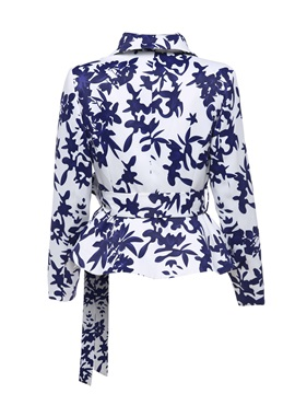 Leaf Pattern Shawl Collar Self Belt Women's Blazer