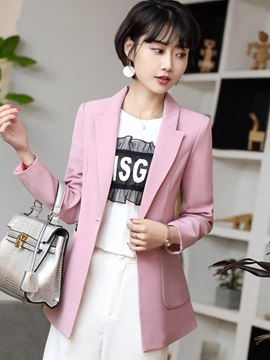 Long Sleeve Mid-Length Plain Women's Blazer
