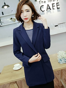 Double-Breasted Lapel Long Sleeve Mid-Length Blazer
